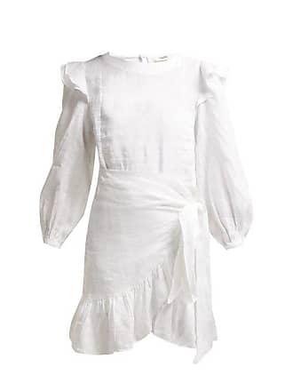 Isabel Marant Telicia Ruffle Trim Linen Dress - Womens - White