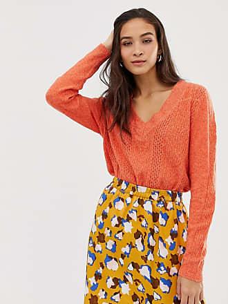 Vila V Neck Cable Sweater - Orange