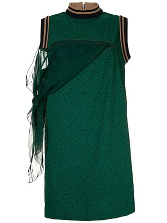 1a11e91475005 sacai side tie panel shift dress - Green