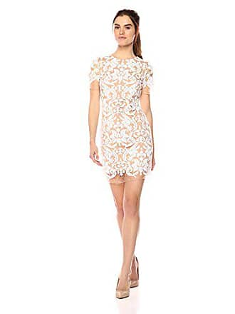 d3e62e4491b Dress The Population Womens Megan Short Sleeve Sequin Lace Mini Sheath Dress,  White/Nude