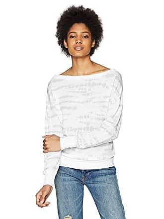 2(x)ist Womens French Terry Boatneck Sweatshirt Sweater, White tie dye, Small