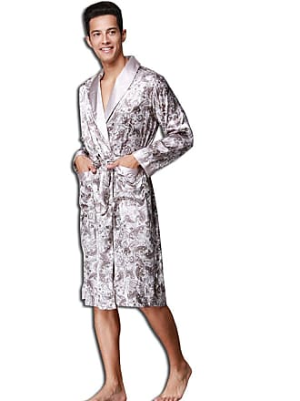 22acb03d35 Kaxidy Mens Nightwear Dressing Gown Robe Bath Nightgown Sleepwear Bathrobes  (Siliver Grey)