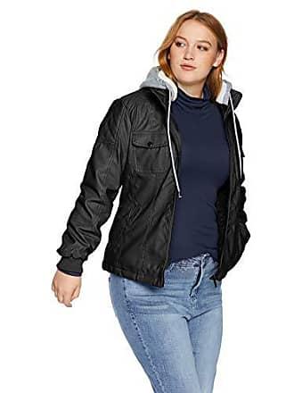 Yoki Womens Plus Size Faux Leather Jacket with Fleece Hood, Black, 2X