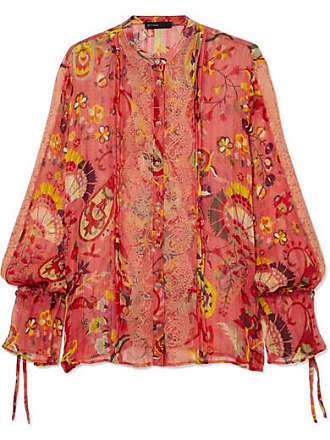 044b3ead7e7a44 Etro Lace-trimmed Printed Silk-crepon Blouse - Red