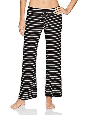 Eberjey Womens Lounge Stripes Wide Leg Pant, Black/Ivory, Medium