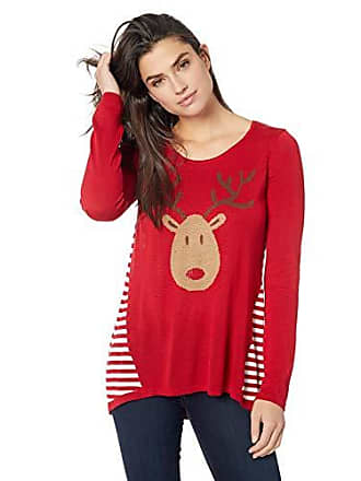 Oneworld Womens Christmas Rudolph Reindeer Sweater, Jingle/red, XLarge