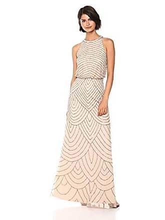 0381c67a70e3 Adrianna Papell Womens Halter Art Deco Beaded Blouson Dress, Nude, 16