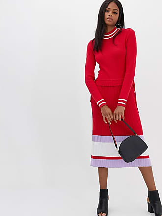 Y.A.S color block knitted dress in red - Red