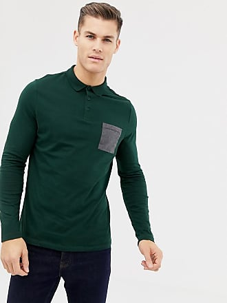 0aace16bdd0 Asos long sleeve polo shirt with contrast pocket in khaki - Green
