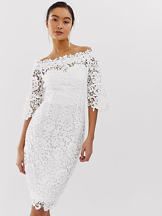 Paper Dolls off shoulder crochet dress with frill sleeve in white - White