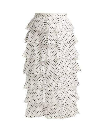42826e55d3 Rodarte Flocked Polka Dot Chiffon Skirt - Womens - Black White