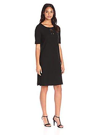 Joan Vass Womens Pique Dress, Black, 3