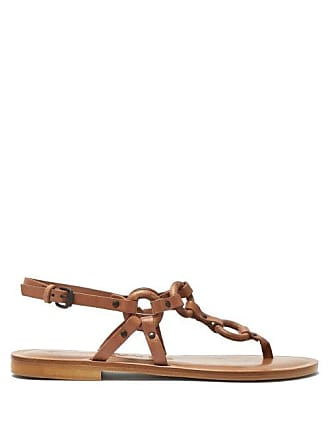 28f1329f5873 ÁLVARO GONZÁLEZ Ando Leather Sandals - Womens - Dark Tan