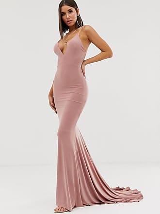 Club L high strappy back fishtail maxi dress in pink - Pink