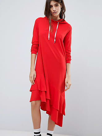 Noisy May hoodie dress with asymmetric hem in red - Red