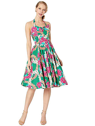 Unique Vintage Unique Vintage x Alfred Shaheen Mala Pua Hibiscus Lei Print Swing Dress (Green/Pink) Womens Dress