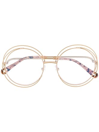 Chloé wire detail round frame glasses - Brown