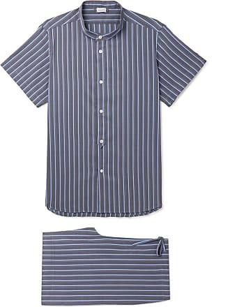 Zimmerli Striped Cotton And Silk-blend Pyjama Set - Navy