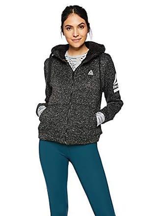 Reebok Womens Hooded Sweater Fleece Active Jacket, Sherpa Lining Black Heather, XL