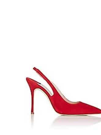 56c1f8c3c51 Manolo Blahnik Womens Allura Suede Slingback Pumps - Red Suede Size 10