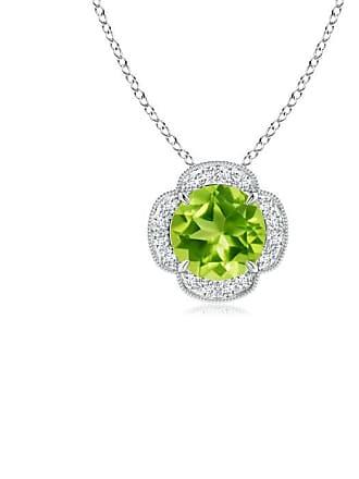 Angara Valentine Day Sale - Claw-Set Peridot Clover Pendant with Diamonds