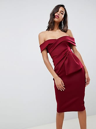 e452b0d1cea Asos Bardot Fold Wrap Front Midi Pencil Dress - Red