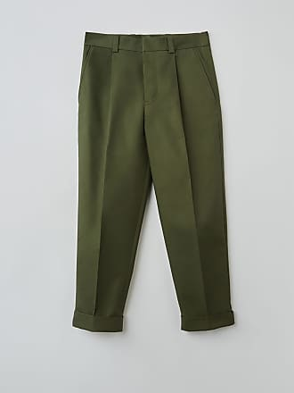 Acne Studios FN-MN-TROU000133 Pine green Cropped pleated trousers