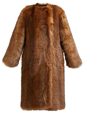 Givenchy Single Breasted Faux Fur Coat - Womens - Brown
