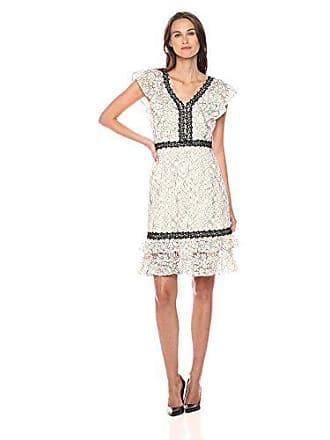 3a543ce8941c3 Nanette Lepore Womens Sleeveless Lace Dress with Flounce Hem & Neckline,  Cannoli Cream/Very
