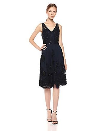 5d9172616c Adrianna Papell Womens Classy Subtle Beaded Cocktail Dress with Ruffle Skirt,  Navy/Black,
