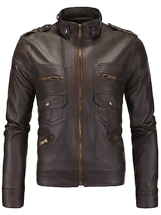 9bfedeafc0 nihiug Motorbike Jacket Retro Leather Jacket for Bikers Waterproof Heavy  Duty Coat Mens Leather Jacket Collar
