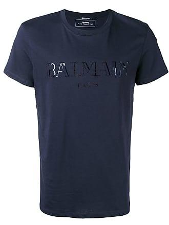 Balmain contrast logo T-shirt - Blue