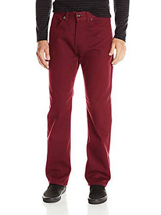 Southpole Mens Pants Long in Thick Bull Twill Fabric and Straight Fit, Burgundy, 32x32