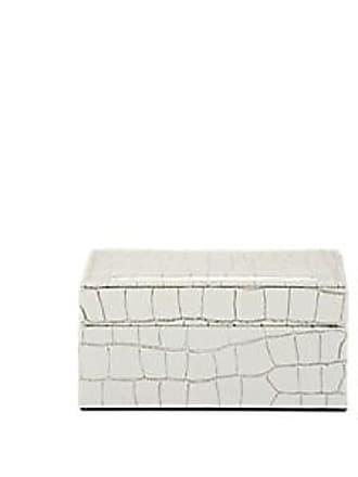 Barneys New York Crocodile-Embossed Leather Small Box - White