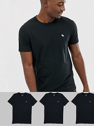 8c63b071 Abercrombie & Fitch 3 pack icon logo crew neck t-shirt in black