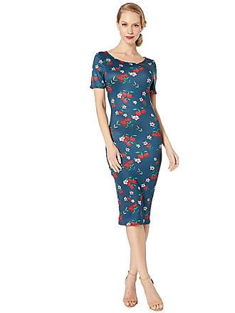 Unique Vintage 1960s Style Knit Presley Wiggle Dress (Navy/Cherry Floral) Womens Dress