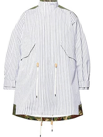 Junya Watanabe Oversized Panelled Striped Cotton And Camouflage-print Ripstop Parka - White