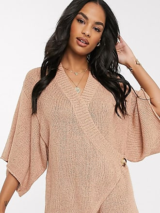 Zulu & Zephyr Exclusive knitted wrap over beach playsuit in rust-Beige