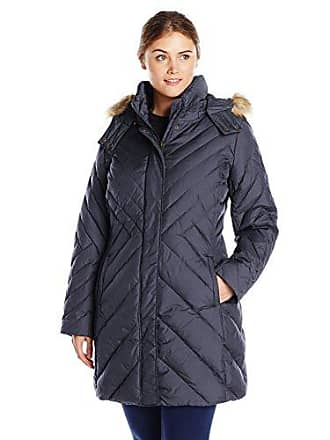 c8b7681137a Larry Levine Womens Plus-Size Mid Length Chevron Down Coat with Faux Fur  Trim Hood