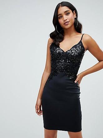 071d65d8302e5d Lipsy sequin top cami bodycon dress in black - Black