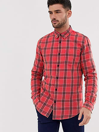 New Look regular fit washed check shirt in red - Red