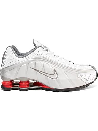 Nike Shox R4 Metallic Leather Sneakers - Silver