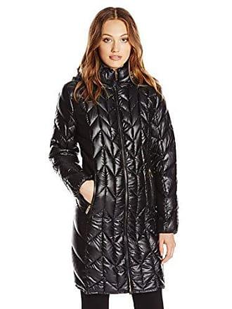 Via Spiga Womens Chevron Packable Jacket, Black, Medium
