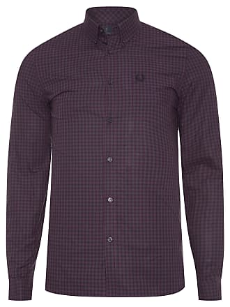 Fred Perry CAMISA MASCULINA THREE COLOUR GINGHAM - ROXO