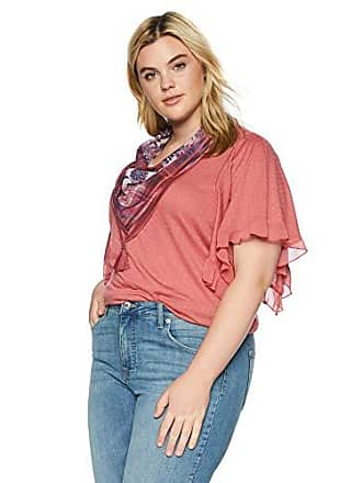 Oneworld Womens Plus-Size Ruffle Sleeve Scarf Top, Seraphic Beauty/Dusty Rose 3X