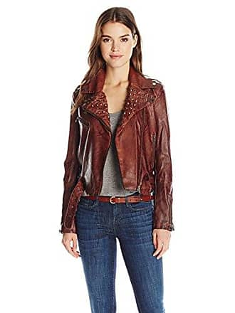 William Rast Womens Kate Pleather Moto Jacket, Camel, S