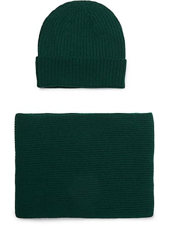William Lockie Ribbed Cashmere Beanie And Scarf Set - Emerald