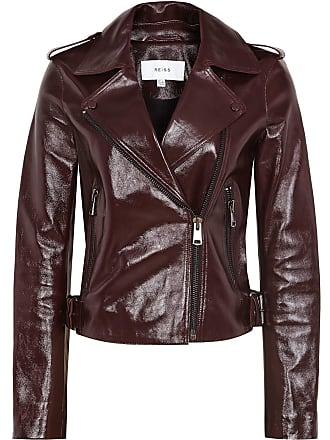 1cdddbc0e32ad Reiss Isla - Patent Leather Biker Jacket in Oxblood