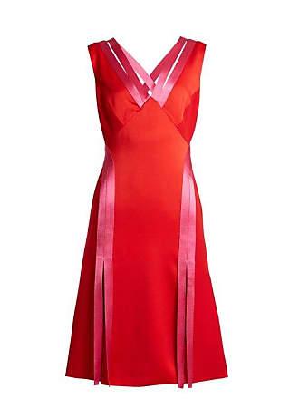 Versace Contrast Trim Crepe Dress - Womens - Red Multi