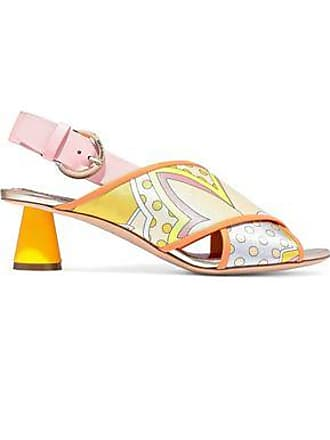 Emilio Pucci Emilio Pucci Woman Leather-trimmed Printed Satin-twill Slingback Sandals Pastel Yellow Size 36.5